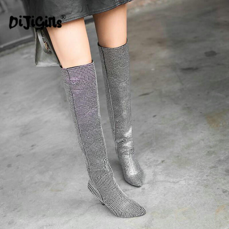 2e8d374249 US $27.97 18% OFF themost Hot Sale Women Luxury Glitter Rhinestone  Embellished Slouchy Pull on Knee High Boots Cone Heel Big Size Drop  Shipping-in ...