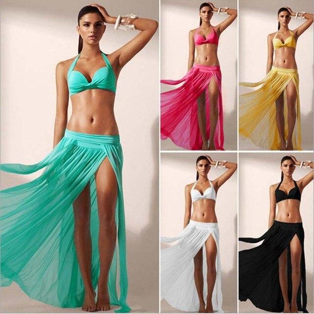 6e78148fa8633 Bikini 2019 Beach Cover Up Bikini Swimwear Cover up Sarong Wrap Pareo Long Skirt  Swimsuit Women