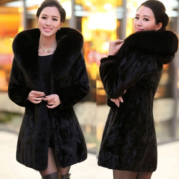 2016 Top Fashion Fur Vest New Winter Women Faux Fur Coat Medium-long Imitation Rabbit Hooded With Trim Bold Plus Size 2xl H058
