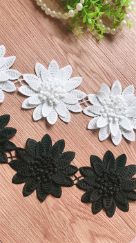 Off White Embroidered Venise Watersoluble Fabric Lace Trim with 3D Floral,Ribbon DIY Sewing Supplies Craft For Decoration10YARDS