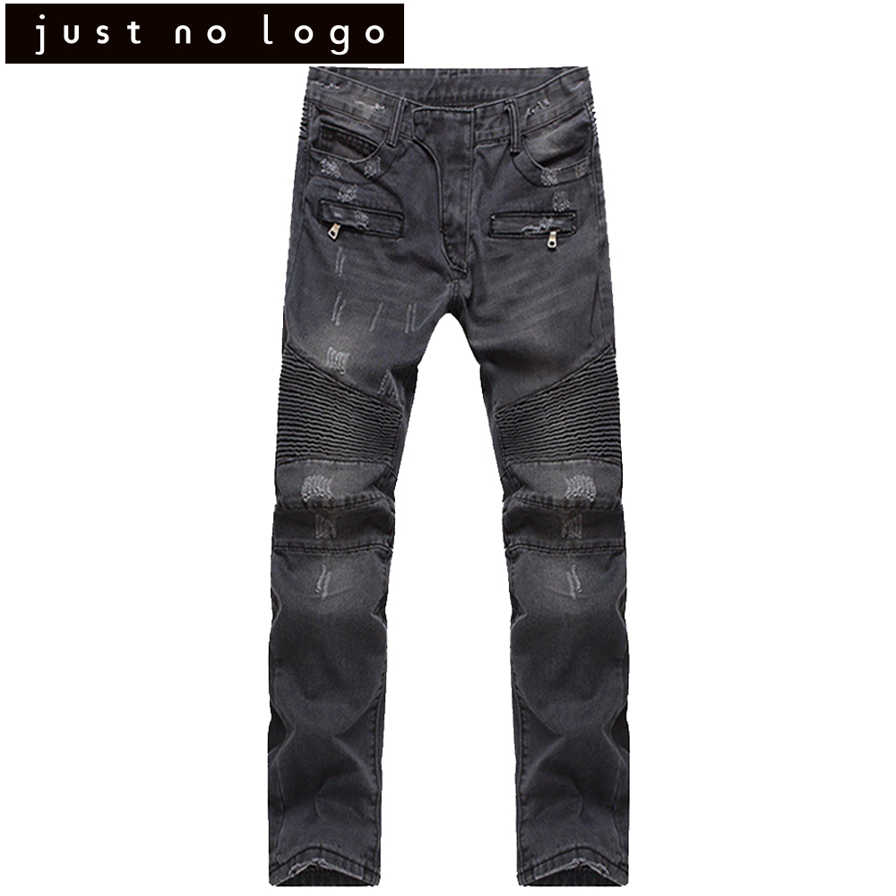 Black Biker Denim Jeans for Man Slim Fit Straight Ripped Trouser Scratched Motocycle Pants Sreetwear Famous brand Trousers 2017 fashion patch jeans men slim straight denim jeans ripped trousers new famous brand biker jeans logo mens zipper jeans 604