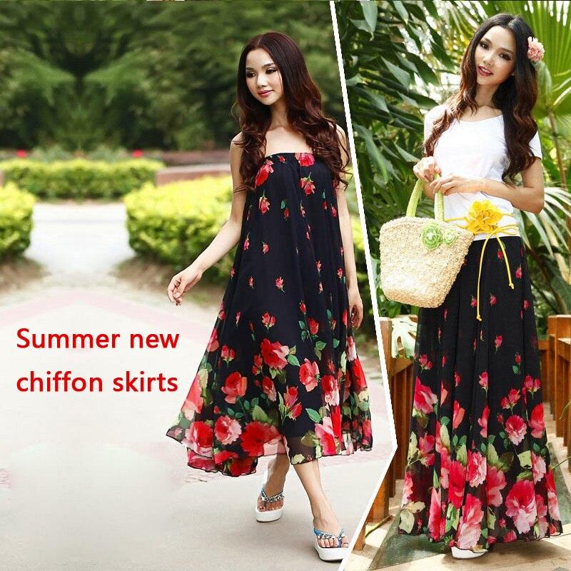 Chiffon Skirts Plus-Size Maxi Flower-Print High-Waist Women Summer NEW