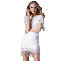 Summer O Neck Patchwork Shawl Sleeve Dress Women Lace Tassel Lolita Dress Fashion Party Wedding High Waist A ling New