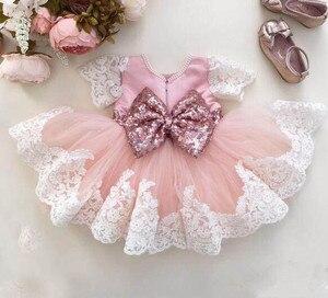 Кружевное платье с блестками для маленьких девочек, платье для крещения с бантом и бусинами для маленьких девочек, элегантное платье на ден...