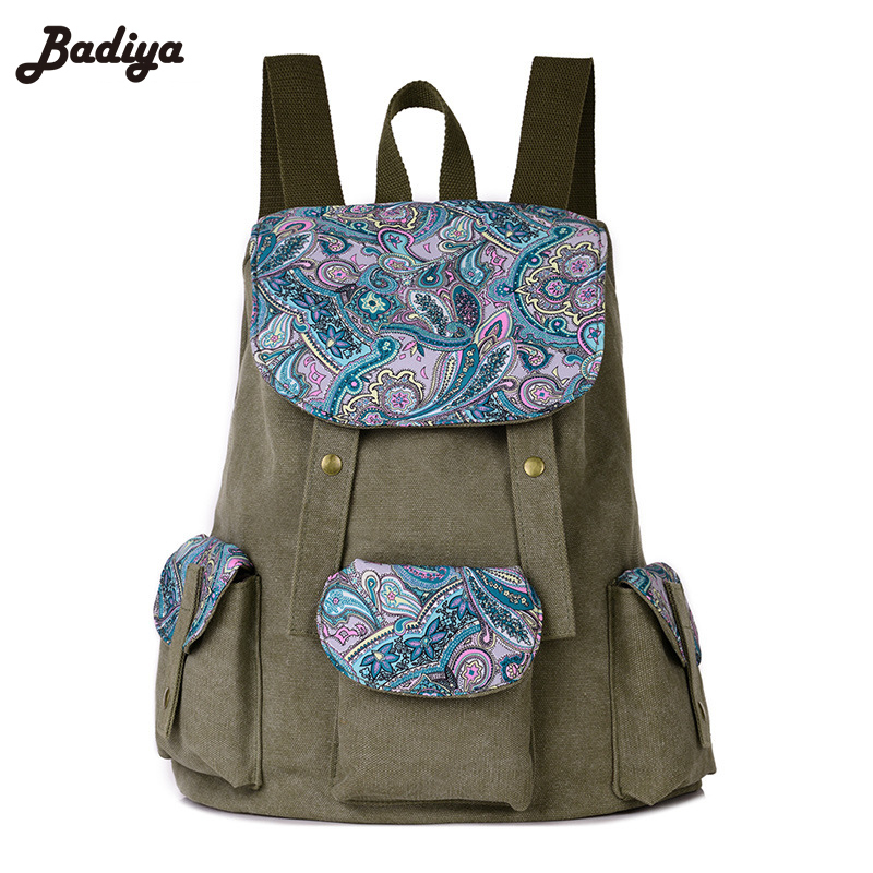 Ethnic Style School Backpack for Teenager Girl Laptop Bag Brand Quality Printing Backpack Women Backpack Floral Canvas Bag