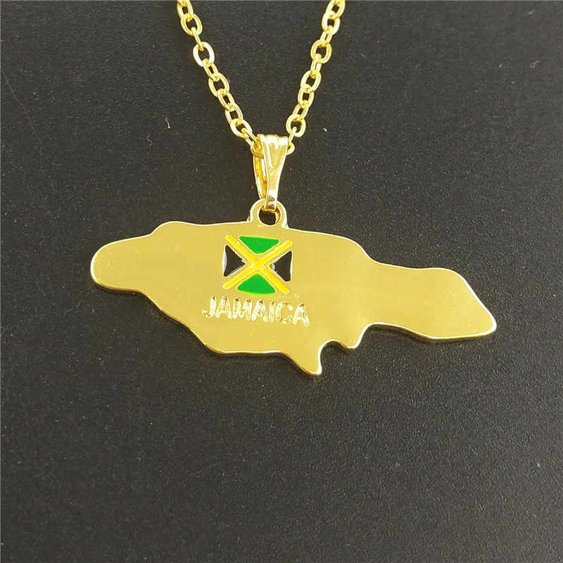 drop shipping fashion Jamaica map necklace for Women map pendant necklace gift charm Jamaican statement Jewelry gift