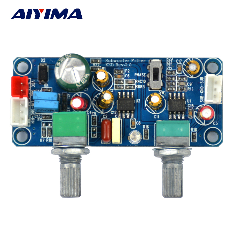 AIYIMA Low Pass Filter Bass Subwoofer Preamp Amplifier Board Single Power DC 9-32V Preamplifier With Bass Volume Adjustment