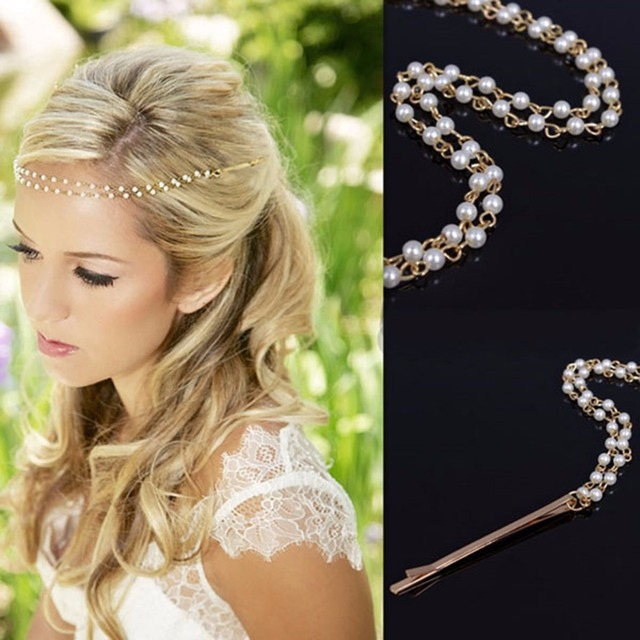 New Shiny Pearl Headband Golden Wedding Party Tiara Hair Bands Bridal Accessories Flower S Hairpins