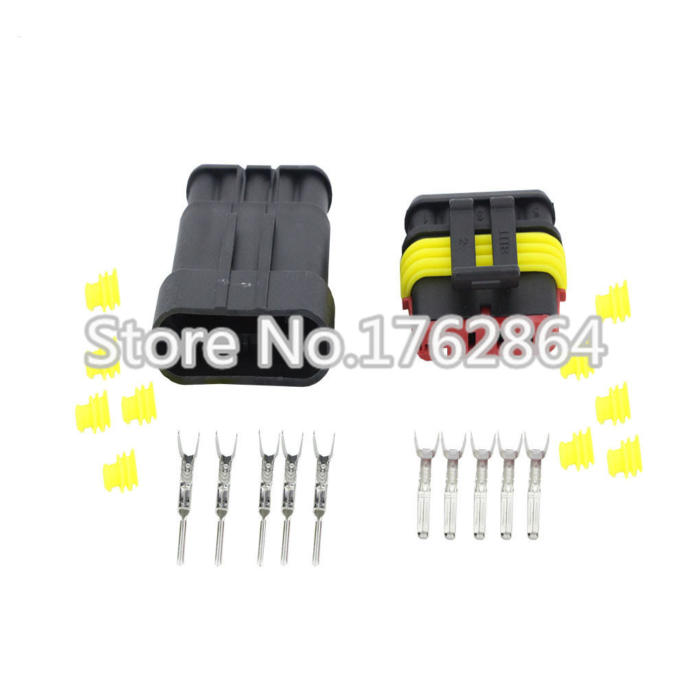 50Sets 5 Pin AMP 1.5 Connectors DJ7051-1.5-11/21 Waterproof Electrical Wire Connector,Xenon lamp connector Automobile Connectors black 50 sets 4 pin dj3041y 1 6 11 21 deutsch connectors dt04 4p dt06 4s automobile waterproof wire electrical connector plug