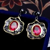 Pendientes de Gota de La vendimia Oval Forma de Huevo Lindo Color Rojo Cubic Zircon Crystal Negro color oro Pendientes Jewellry para Las Señoras de Las Muchachas