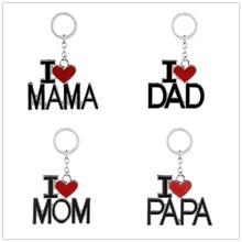 Family Jewelry Gift Enamel Letter Keychain I Love MAMA/MOM/DAD/PAPA Carton Key Chains Heart Pendant Bag Rings Souvenir Jewelry