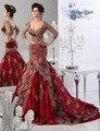 SaudiArabia Dos piezas sweetheart Appiques seelveTrumpet de tres cuartos Vestidos de Noche robe de soirée manche longue caftán dubai