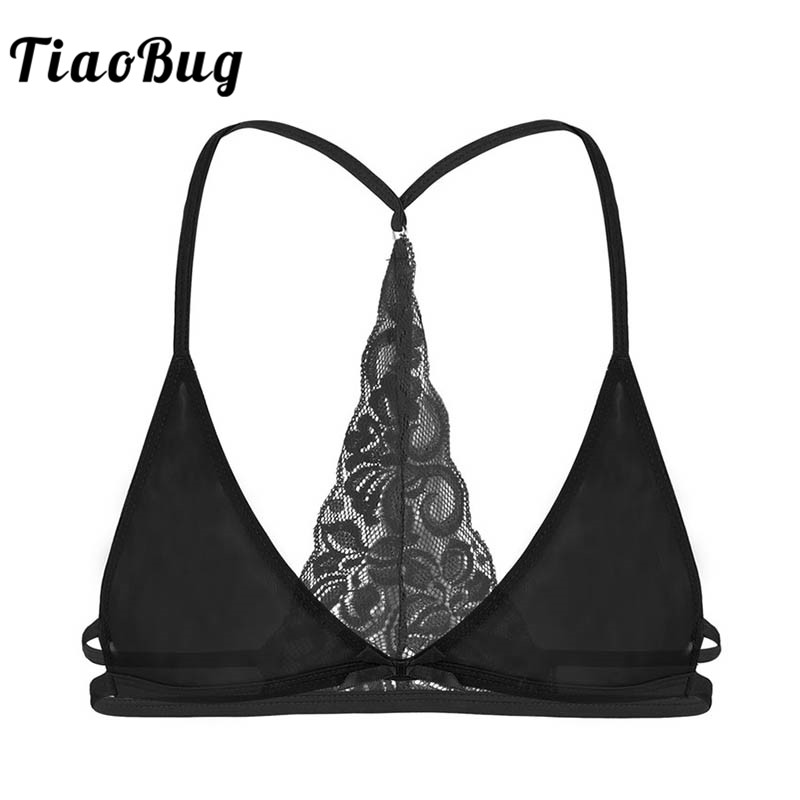 TiaoBug Mesh Sheer Lace Crossdressing Men Sissy Bra Tops Y-shape Unlined Triangle Transparent Gay Erotic Hot Sexy Male Bralette