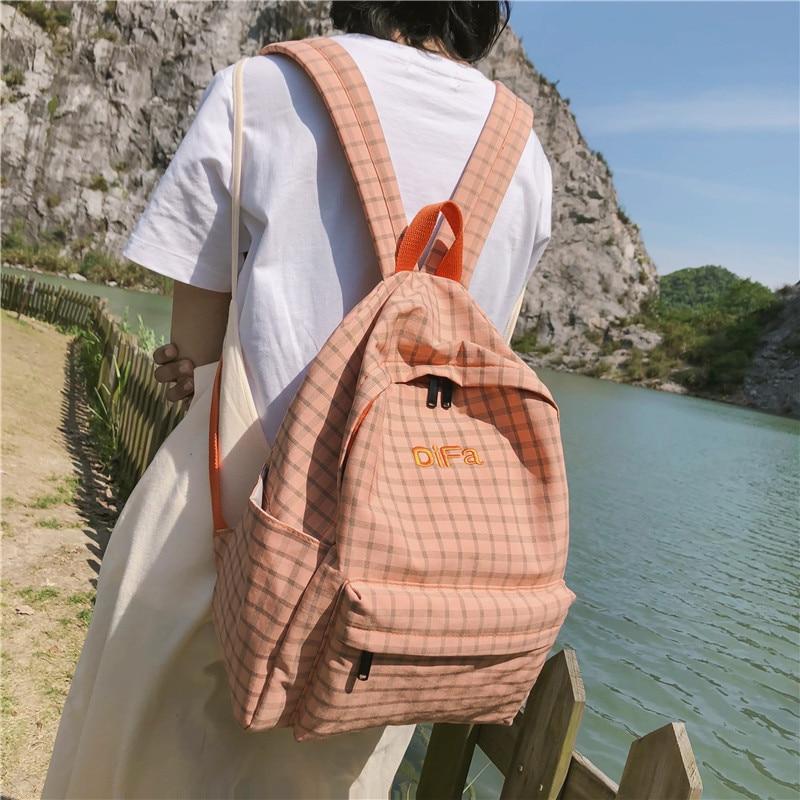 DCIMOR Fashion Plaid Women Backpack Female Cotton Canvas Schoolbag For Teenage Girls Travel Backpacks Fashion Embroidery Mochila