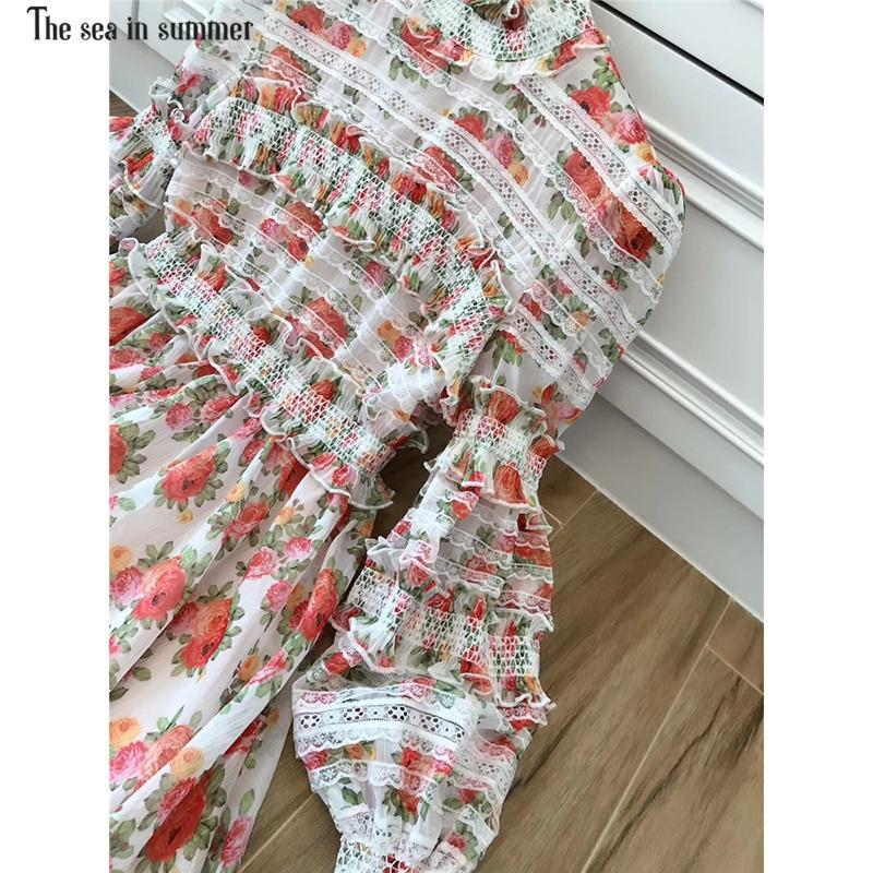 Multi En Femmes Designer Printemps Été Bouffantes Maxi Partie Superbe De Floral Rouge Mer Imprimé Charme Manches Robe Broderie La wq8Uy5Hq