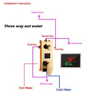 Image 3 - ULGKSD banyo duş musluk LED altın pirinç şelale yağmur biçimli duş kafa duvara monte sıcak ve soğuk su musluk bataryası