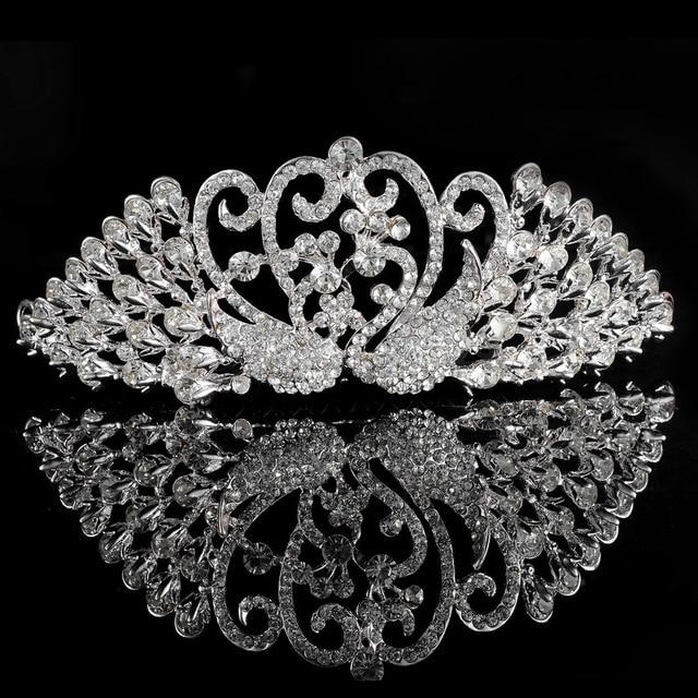 Peacock Design Bridal Tiaras Crystal Hair Jewelry Wedding