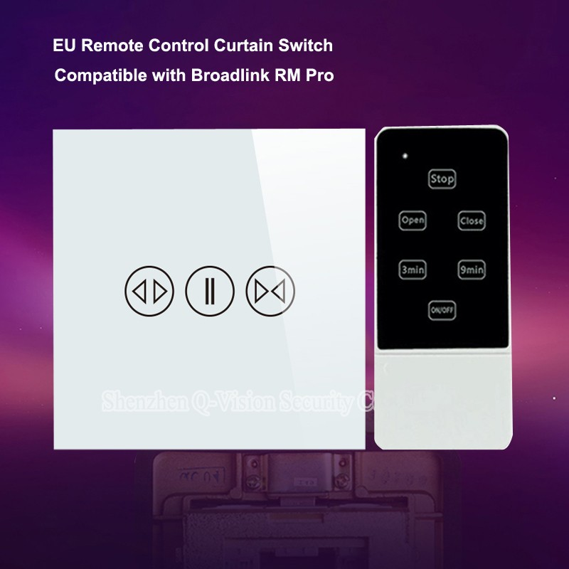Q-Vision-Smart-Home-Remote-Control-Wall-Touch-Curtain-Switch-EU-Standard-RF433-Luxury-Glass-for