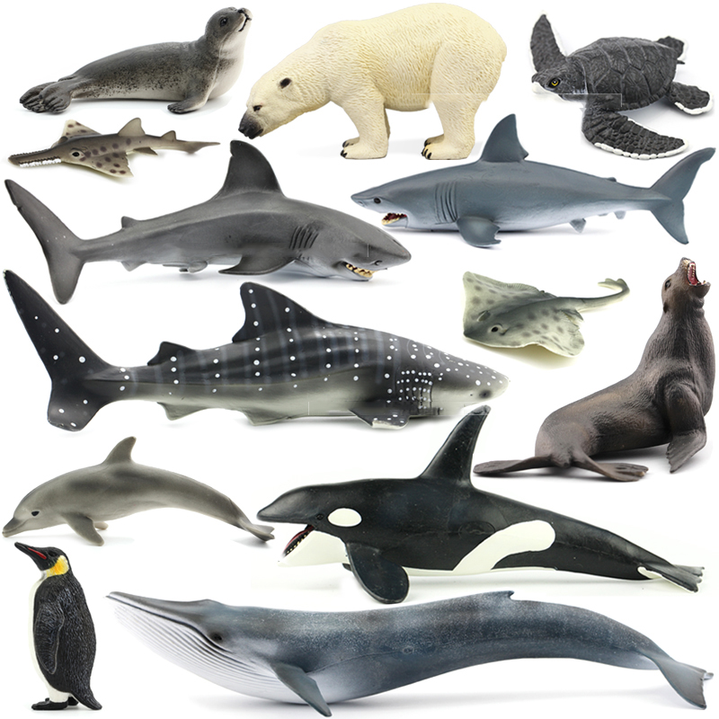 Original Ocean Sealife Animals Sets Bule Whale Shark Jaws Tiger Killer Whale Leatherback Kids Learning Toy Children Gift