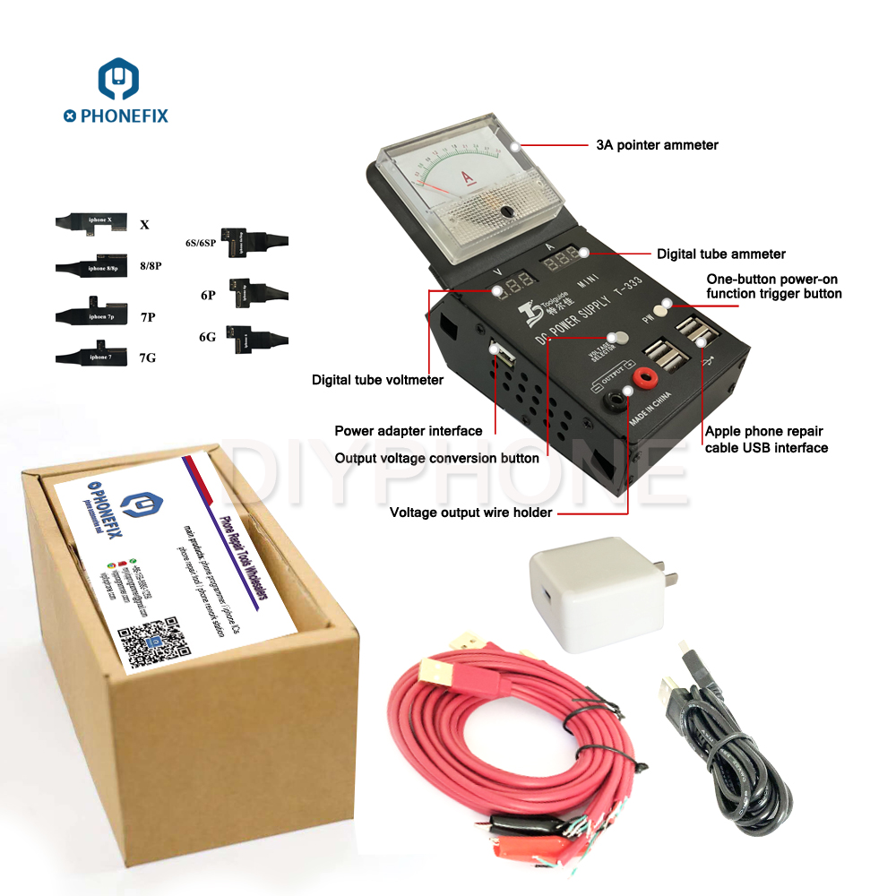Ipower plus T-333 mini multimètre smart dc alimentation pour réparation de téléphone mobile 110-240 V AC entrée 3A 4.2 V 5.02 V DC sortie