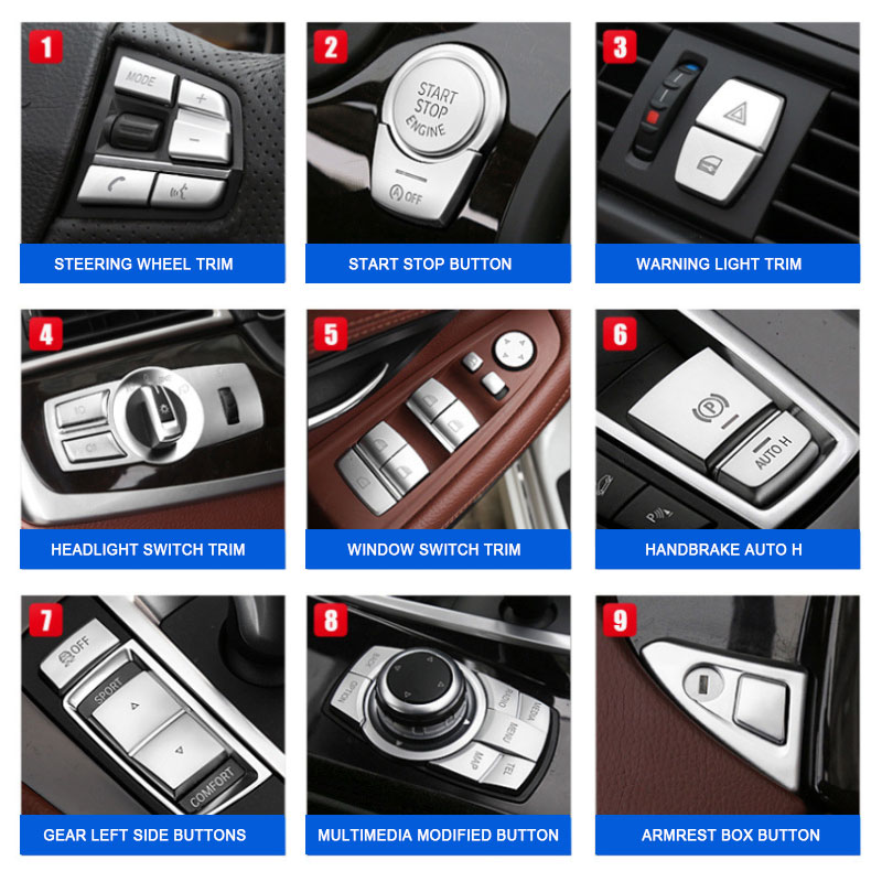 Car Interior Button Trim For BMW 5 Series F10 F18 2011