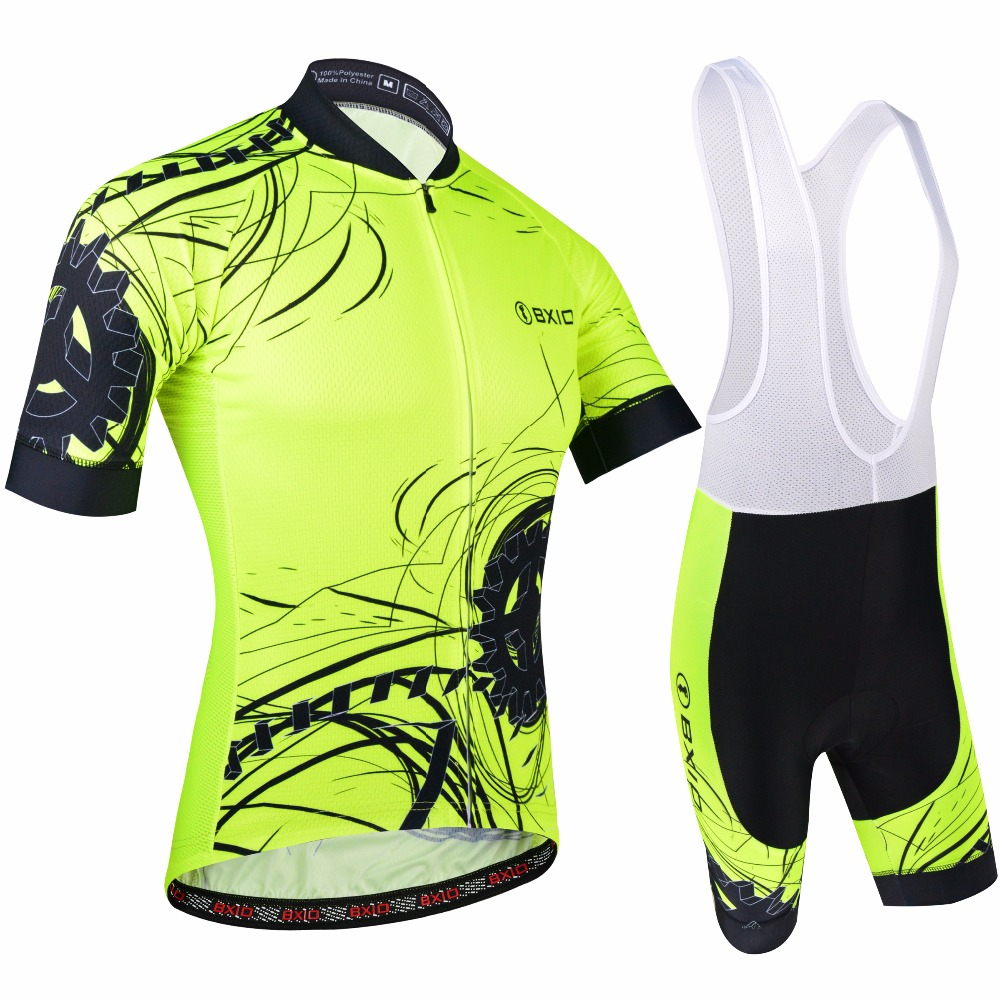 BXIO Men Cycling Jersey Fluo Yellow Bike Wear Road Race For Cycling Support Mix  Size Breathable Short Sleeve With Bib Shorts 183-in Cycling Sets from  Sports ... b5d60483f