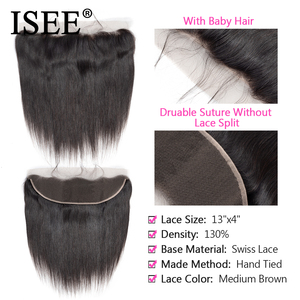 Image 3 - ISEE HAIR การรวมกลุ่มผมตรงกับด้านหน้าด้านหน้าลูกไม้ 13*4 พร้อมตรงบราซิลผมมนุษย์รวมกับด้านหน้า