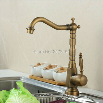 Free Shipping Tall Antique Brass Kitchen Faucet  Square Body Long Mouth Swivel Brass Basin Sink Mixer Tap A-040