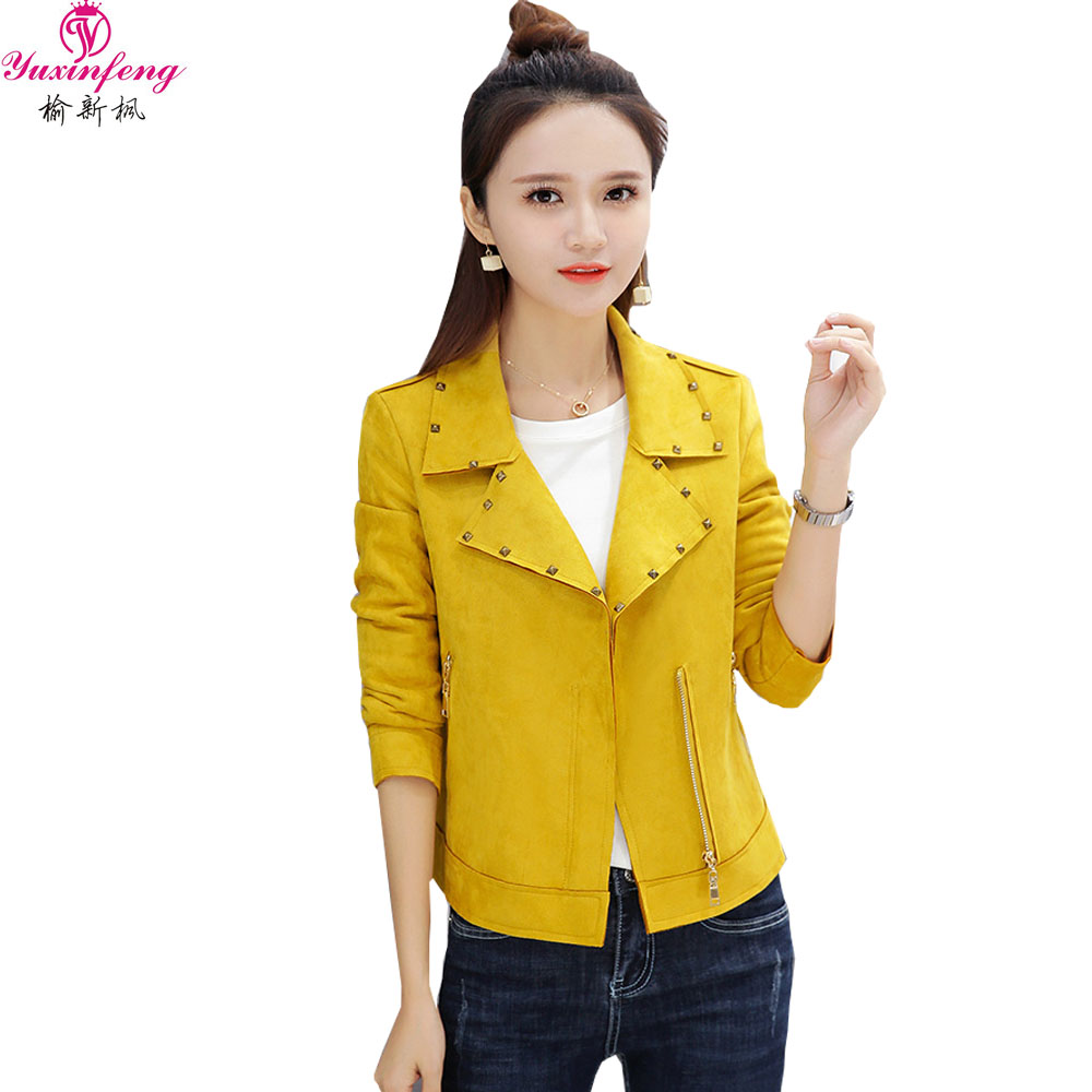 Yuxinfeng Spring Autumn Faux   Suede     Leather   Jacket Women Slim Rivet Fashion Soft Short Pu   Leather   Coats Ladies Pink Yellow Blue