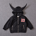 2016 Autumn boys jacket spring hooded 23 bull coat fashion children's ox horn jacket kids casual outwear black red coat 16A12