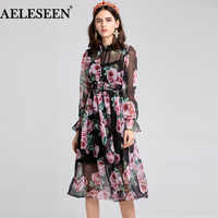 AELESEEN High Quality New Fashion Designer Dress Women's Long Sleeve Rose Printing Vintage Beach Bohemian Mid-Calf Dress Vestido