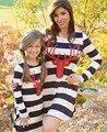 Invierno juego de madre e hija vestidos maxi rayas ciervos de la Navidad ropa de mirada de la familia de madre e hija familia ropa a juego