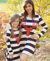 Winter matching mother daughter dresses striped Christmas deer mother daughter clothes family look maxi family matching clothes