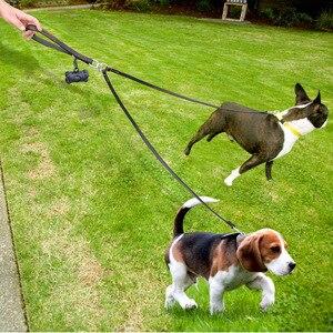 Image 4 - 2 manieren Hondenriem Dubbele Twee Huisdier Lederen Leads NoTangle Koppeling Met Handvat voor Wandelen en Training 2 Kleine Medium honden