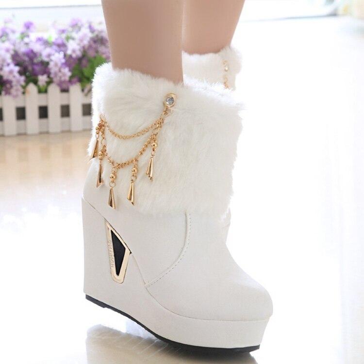 Free shipping shoes woman snows boot 2015 fur women boots botas ...