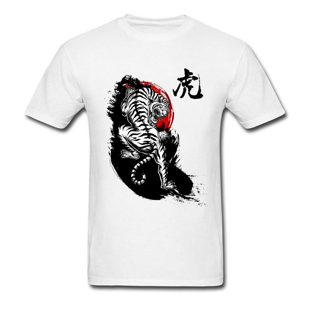 Adult T Shirts Japanese Tiger Design T Shirt Pure Cotton Round Collar Short Sleeve 3D Printed T Shirt Summer/Fall Japanese Tiger white
