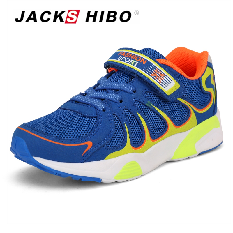 JACKSHIBO Kid Shoes Summer Breathable Running Sneakers for Boys Outdoor Casual Shoes Teenager Flat Sport Sneakers School Shoes