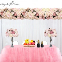 Customize 35cm artificial flower ball centerpieces peonies Hydrangea flower row decor wedding arch wall table flower+candlestick