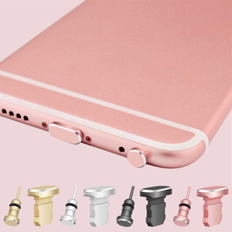 Metal 3.5mm Earphone Jack Dust Plug Anti-dust Ear Cap Charging Port DustPlug Set for iPhone 6 6s Plus 5s SE iPad Mini