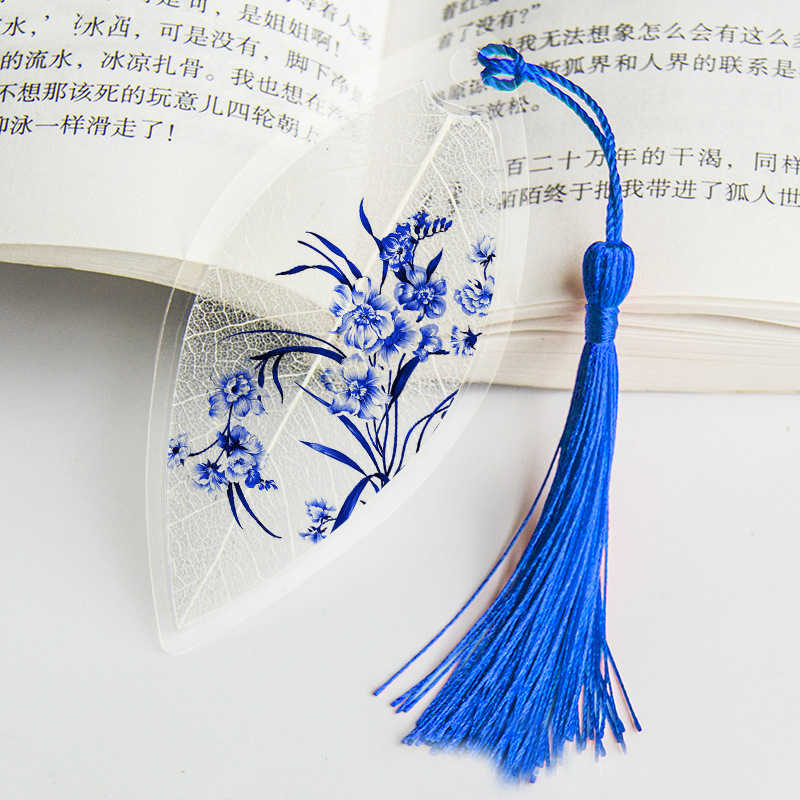 Waterproof Transparent PVC Plastic bookmarks Chinese style bookmark Tassel Bookmarks Collectibles leaf Vein bookmark Gift