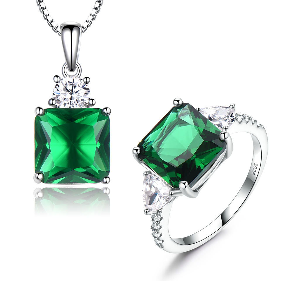 UMCHO 925 Sterling Silver Jewelry Sets for Women Gemstone Bridal Emerald Ring Pendant Necklace Women Wedding Engagement JewelryUMCHO 925 Sterling Silver Jewelry Sets for Women Gemstone Bridal Emerald Ring Pendant Necklace Women Wedding Engagement Jewelry