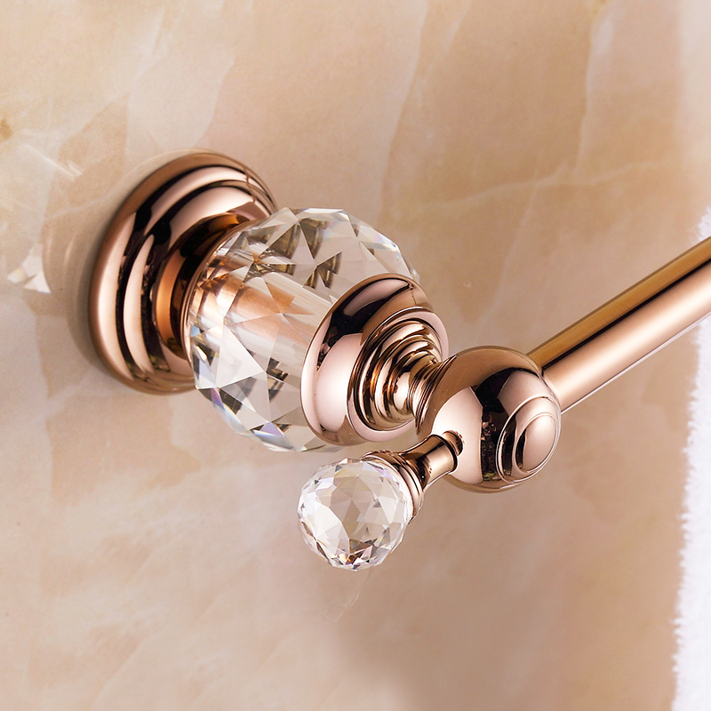 High Quality European Style Rose Gold Crystal Solid Brass Towel Rail Single Towel Bar Bathroom Towel Holder Bathroom Accessories