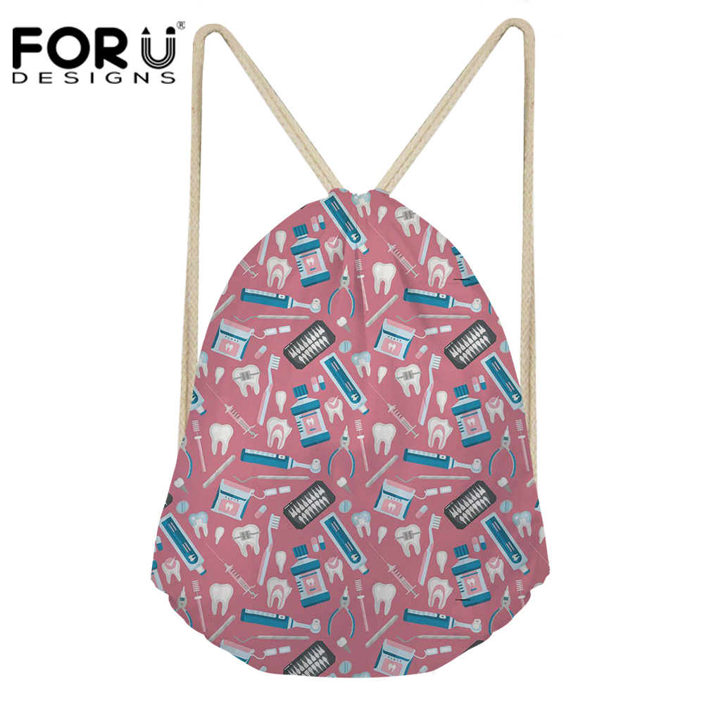 FORUDESIGNS Dental Equipment Pattern Drawstring Backpack for Women Cute Brand Design Travel Storage Bagpack School Teens Backbag