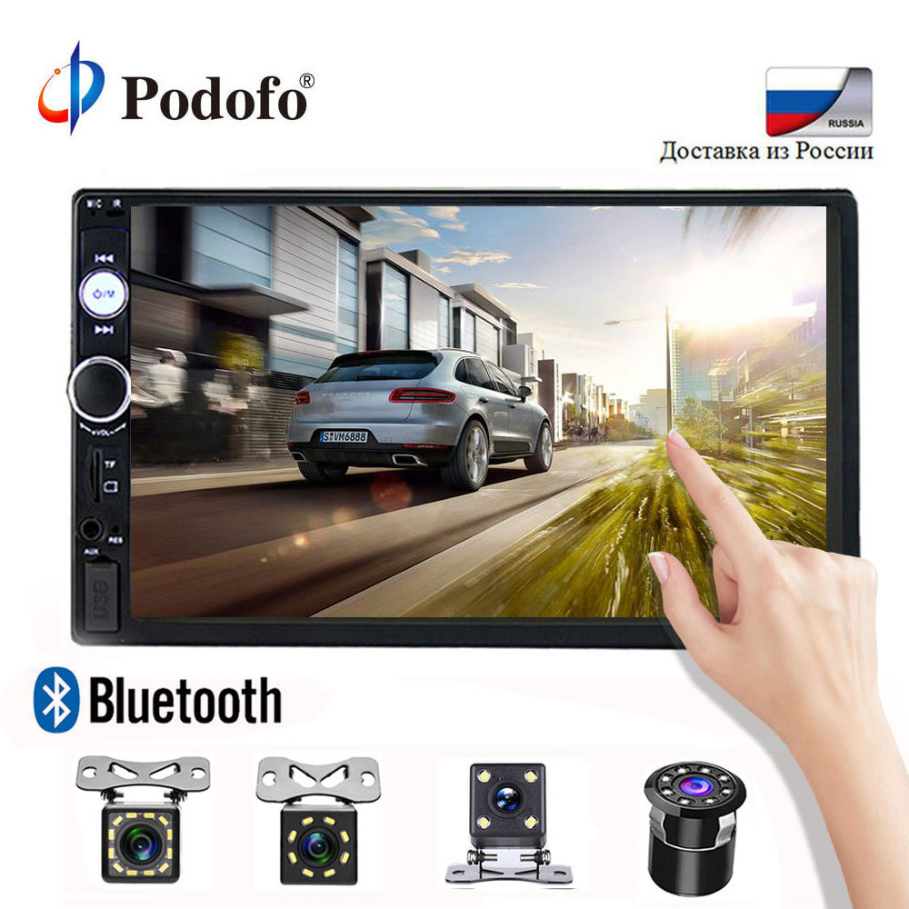 Podofo 2 din car radio 7 Touch Digital Display MP5 Auto Car audio Autoradio Bluetooth USB 2din Multimedia Player Backup Monitor цена