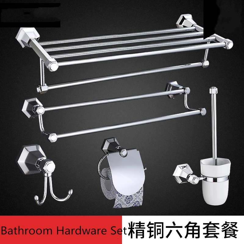 Brass Bathroom Hardware Set Home Decoration products Chrome Hexagonal toilet brush holder Toothbrush holder Wall mounted image