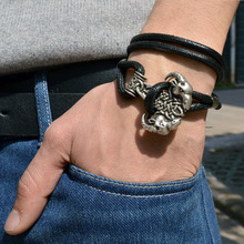 1pcs Fashion Viking Bracelet For Men Punk Leather Wrap Rope Amulet Talisman Bracelet Vintage Jewelry BT12