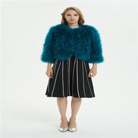 Autumn and winter new women's fashion ostrich fur grass coat turkey feather feather coat short paragraph