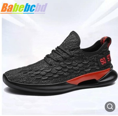 2019 New Men's Shoes Flying Weaving Leisure Tie Running Sports Shoes Baitai Breathable Four Seasons Shoes