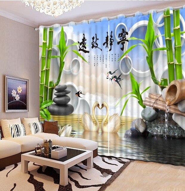 Chinesische Vorhänge Benutzerdefinierte Foto kreis bambus Fenster ...