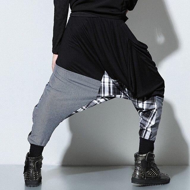 9801 # Men's large size harem pants men's casual pants tide male hip-hop stitching collapse pants